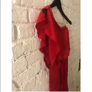 City Triangles Dresses - One Shoulder Dress Ruffle Red Dress